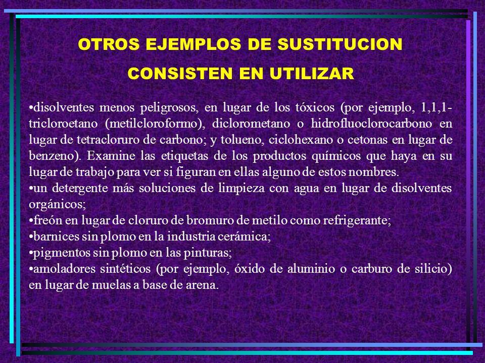 B. Sustitución Si no se puede eliminar completamente un producto químico o un procedimiento de trabajo particularmente peligrosos, hay que tratar de r