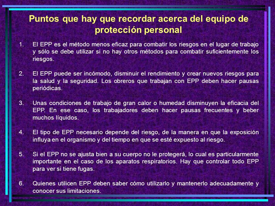 ¿Cómo saber qué tipo de EPP utilizar.