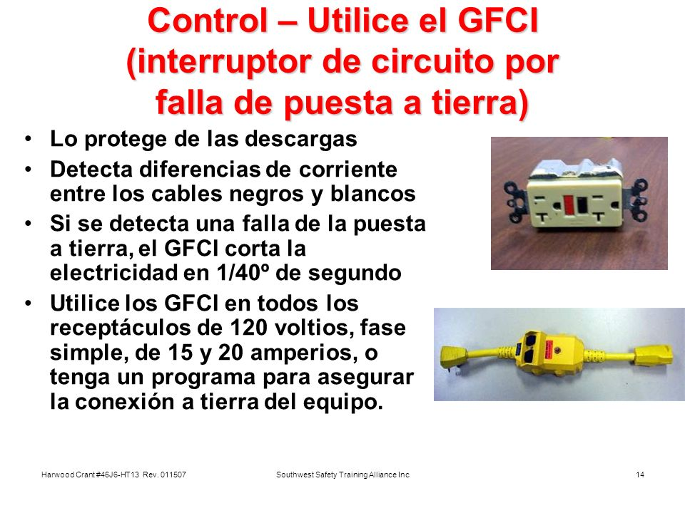 Harwood Crant #46J6-HT13 Rev. 011507Southwest Safety Training Alliance Inc14 Control – Utilice el GFCI (interruptor de circuito por falla de puesta a