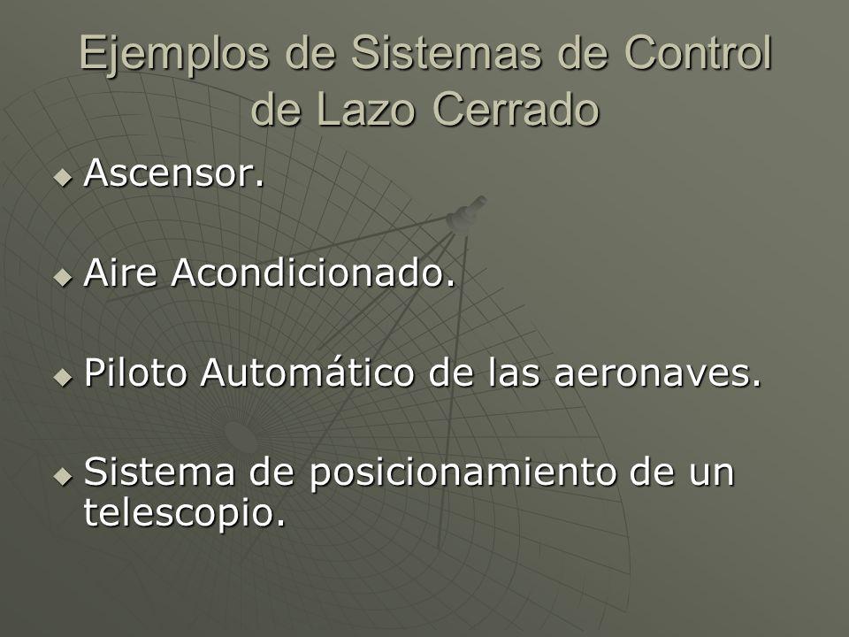 Ejemplos de Sistemas de Control de Lazo Cerrado Ascensor. Ascensor. Aire Acondicionado. Aire Acondicionado. Piloto Automático de las aeronaves. Piloto