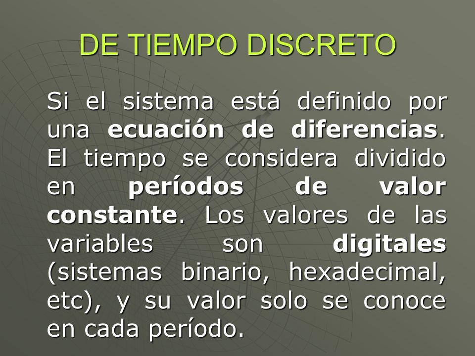 DE TIEMPO DISCRETO Si el sistema está definido por una ecuación de diferencias. El tiempo se considera dividido en períodos de valor constante. Los va