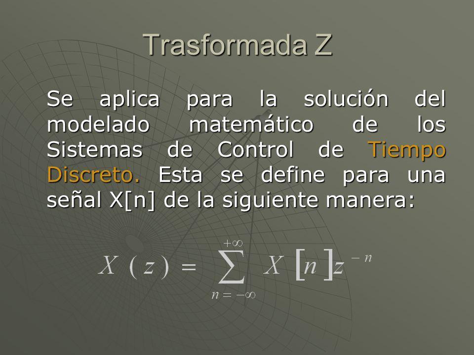 Trasformada Z Se aplica para la solución del modelado matemático de los Sistemas de Control de Tiempo Discreto. Esta se define para una señal X[n] de