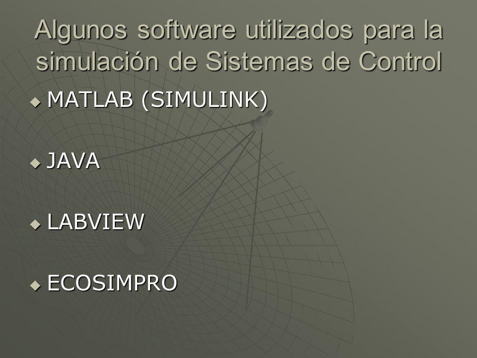 Algunos software utilizados para la simulación de Sistemas de Control MATLAB (SIMULINK) MATLAB (SIMULINK) JAVA JAVA LABVIEW LABVIEW ECOSIMPRO ECOSIMPR