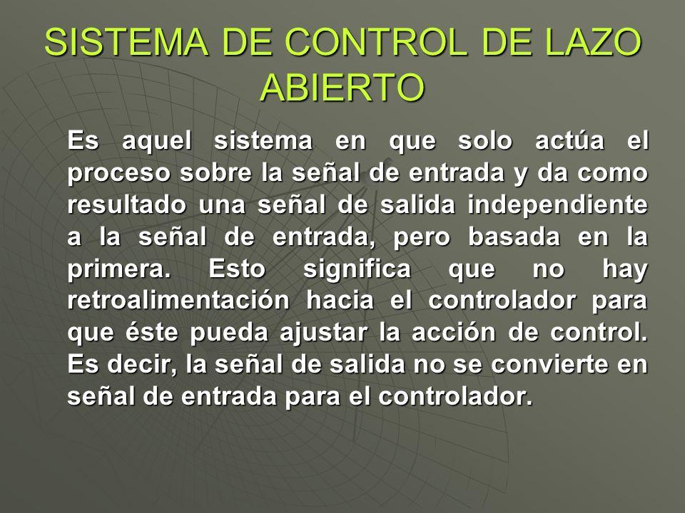 SISTEMA DE CONTROL DE LAZO ABIERTO Es aquel sistema en que solo actúa el proceso sobre la señal de entrada y da como resultado una señal de salida ind