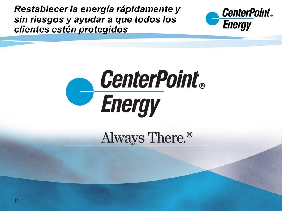 12 Restablecer la energía rápidamente y sin riesgos y ayudar a que todos los clientes estén protegidos