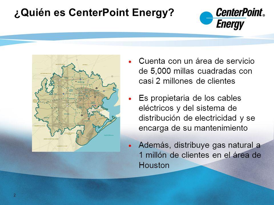 2 Cuenta con un área de servicio de 5,000 millas cuadradas con casi 2 millones de clientes Es propietaria de los cables eléctricos y del sistema de distribución de electricidad y se encarga de su mantenimiento Además, distribuye gas natural a 1 millón de clientes en el área de Houston ¿Quién es CenterPoint Energy