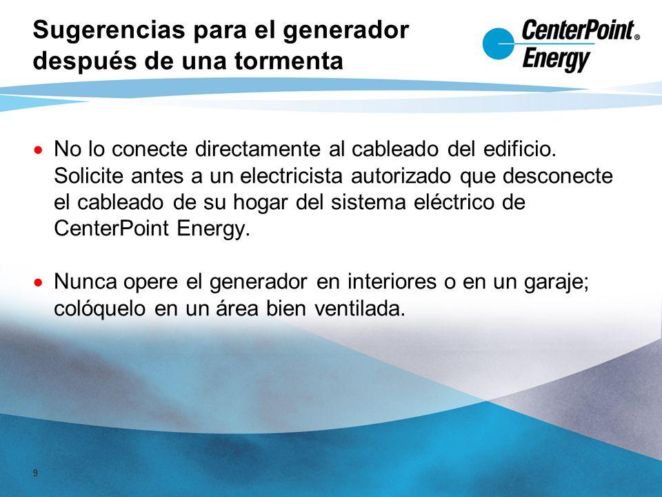 9 Sugerencias para el generador después de una tormenta No lo conecte directamente al cableado del edificio.
