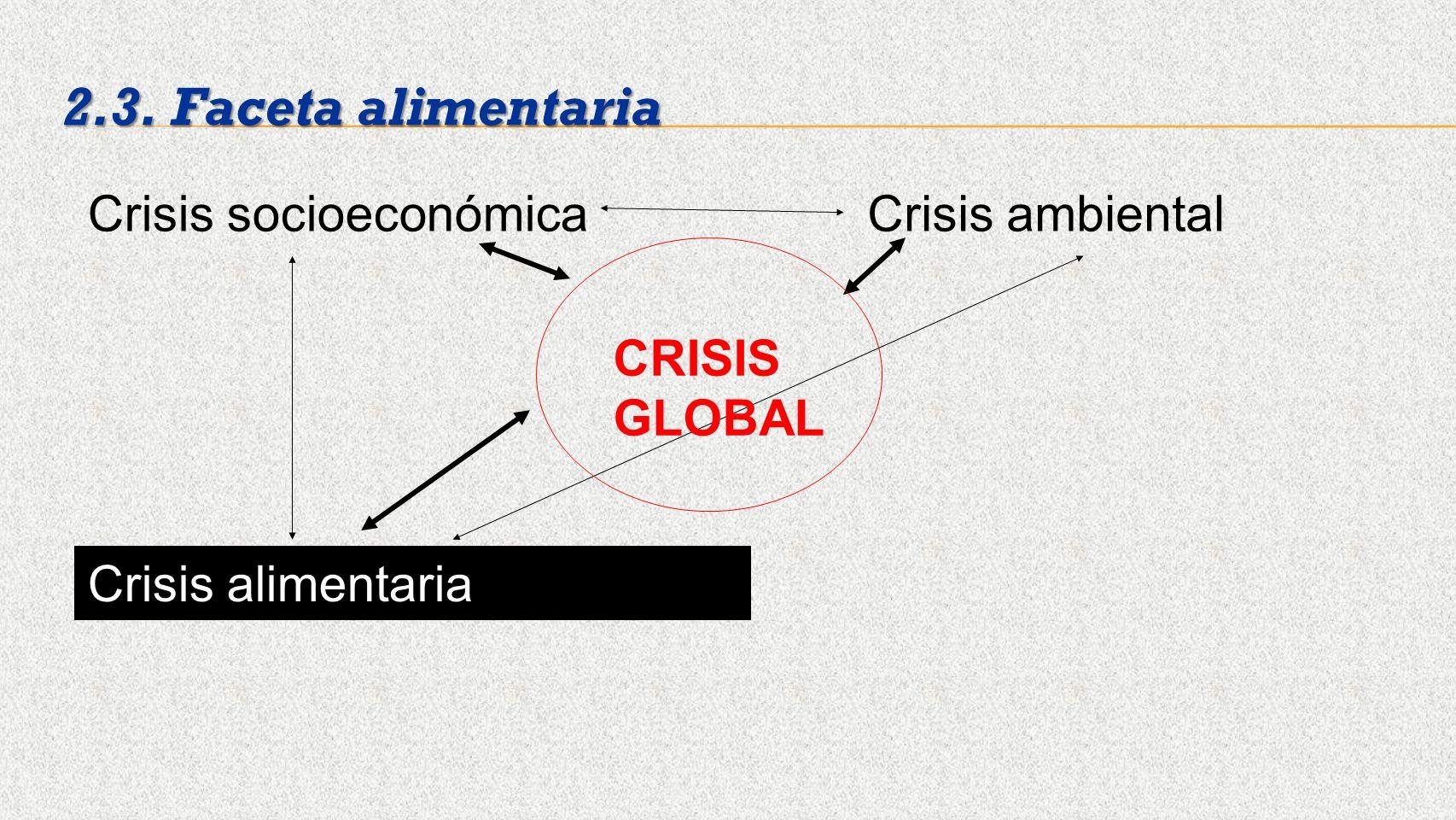 Crisis socioeconómicaCrisis ambiental Crisis alimentaria 2.3. Faceta alimentaria CRISIS GLOBAL