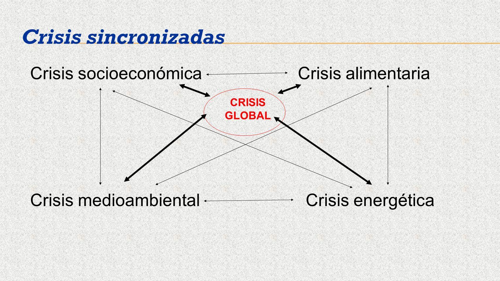 Crisis socioeconómicaCrisis alimentaria Crisis medioambientalCrisis energética Crisis sincronizadas CRISIS GLOBAL