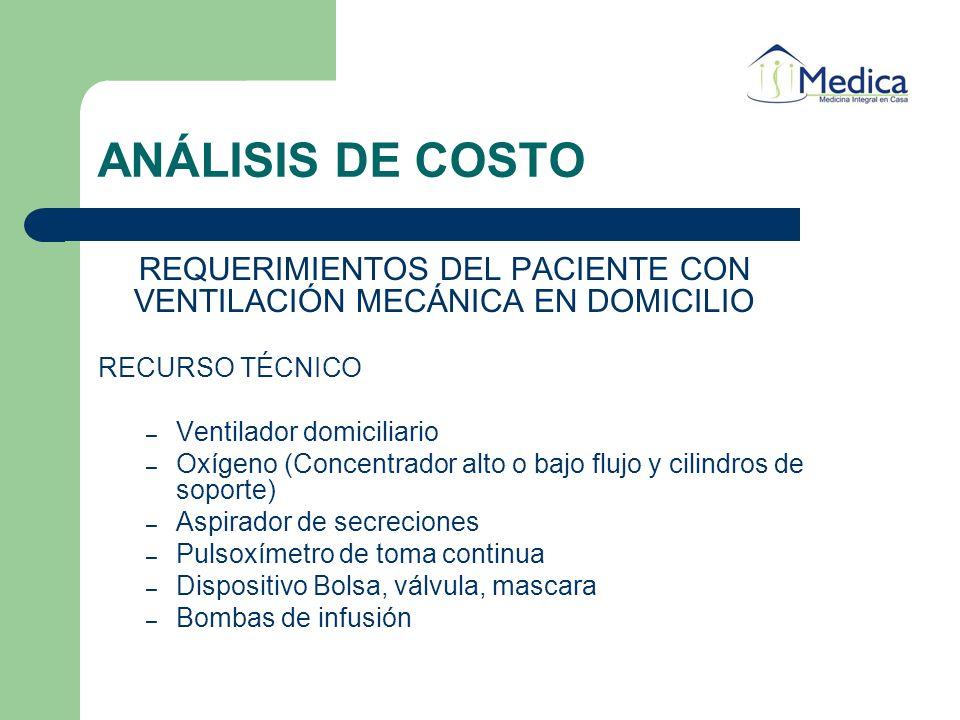 ANÁLISIS DE COSTO REQUERIMIENTOS DEL PACIENTE CON VENTILACIÓN MECÁNICA EN DOMICILIO RECURSO TÉCNICO – Ventilador domiciliario – Oxígeno (Concentrador