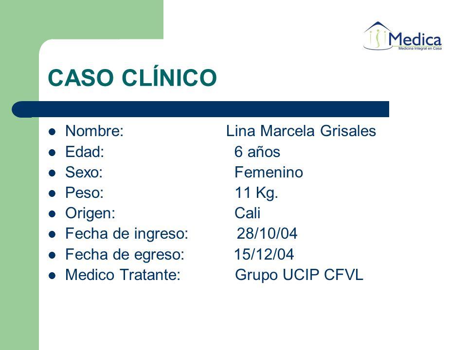 CASO CLÍNICO Nombre: Lina Marcela Grisales Edad:6 años Sexo:Femenino Peso:11 Kg. Origen:Cali Fecha de ingreso: 28/10/04 Fecha de egreso: 15/12/04 Medi