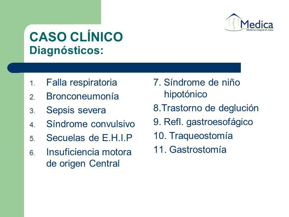 CASO CLÍNICO Diagnósticos: 1. Falla respiratoria 2. Bronconeumonía 3. Sepsis severa 4. Síndrome convulsivo 5. Secuelas de E.H.I.P 6. Insuficiencia mot