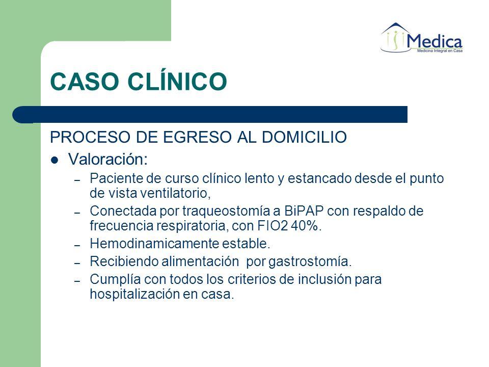 CASO CLÍNICO PROCESO DE EGRESO AL DOMICILIO Valoración: – Paciente de curso clínico lento y estancado desde el punto de vista ventilatorio, – Conectad