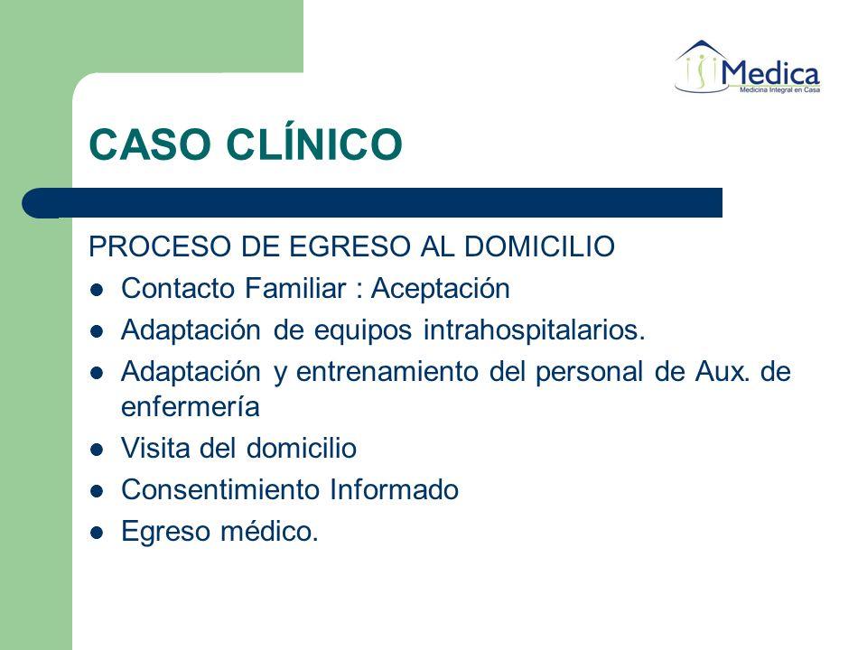 CASO CLÍNICO PROCESO DE EGRESO AL DOMICILIO Contacto Familiar : Aceptación Adaptación de equipos intrahospitalarios. Adaptación y entrenamiento del pe
