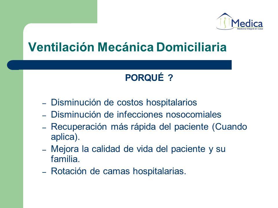 Ventilación Mecánica Domiciliaria PORQUÉ ? – Disminución de costos hospitalarios – Disminución de infecciones nosocomiales – Recuperación más rápida d