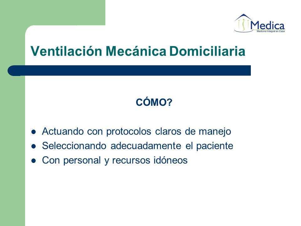 Ventilación Mecánica Domiciliaria CÓMO? Actuando con protocolos claros de manejo Seleccionando adecuadamente el paciente Con personal y recursos idóne