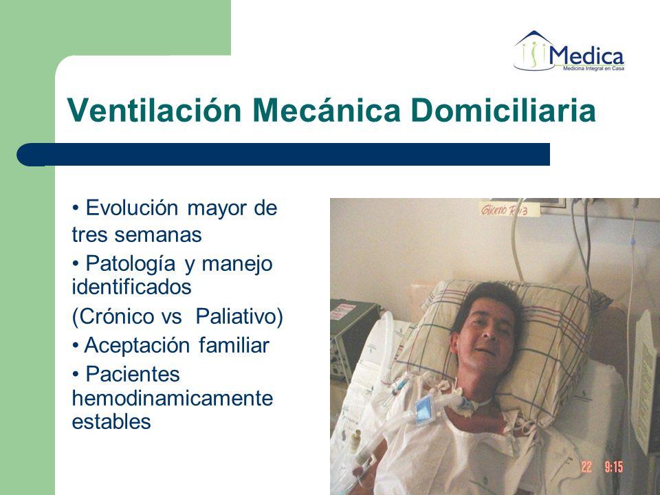 Ventilación Mecánica Domiciliaria Evolución mayor de tres semanas Patología y manejo identificados (Crónico vs Paliativo) Aceptación familiar Paciente