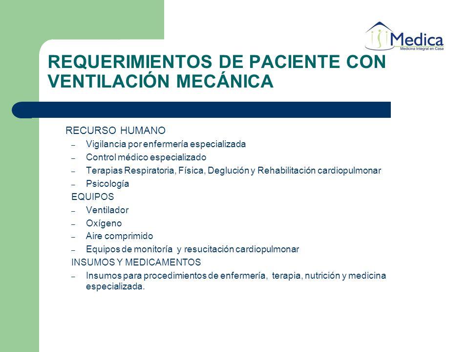 RECURSO HUMANO – Vigilancia por enfermería especializada – Control médico especializado – Terapias Respiratoria, Física, Deglución y Rehabilitación ca