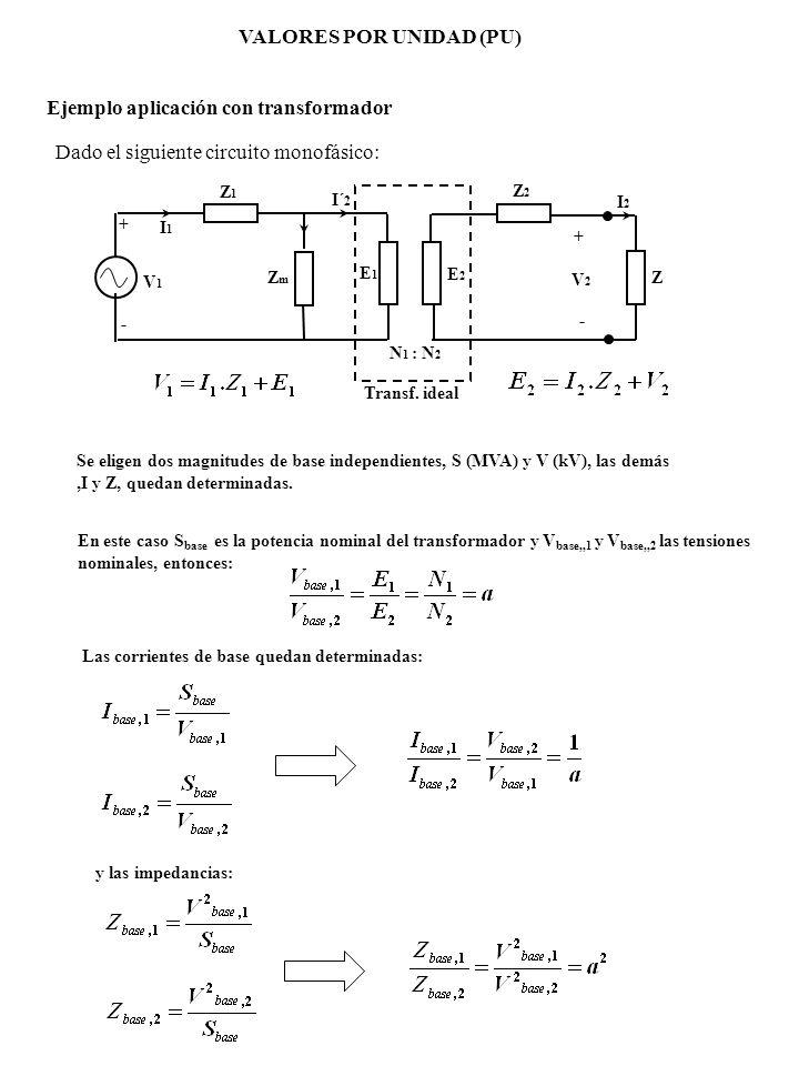 VALORES POR UNIDAD (PU) V1V1 + - Z1Z1 Z2Z2 I1I1 I´ 2 I2I2 V2V2 E1E1 E2E2 Transf. ideal + - N 1 : N 2 ZmZm Z Ejemplo aplicación con transformador Dado