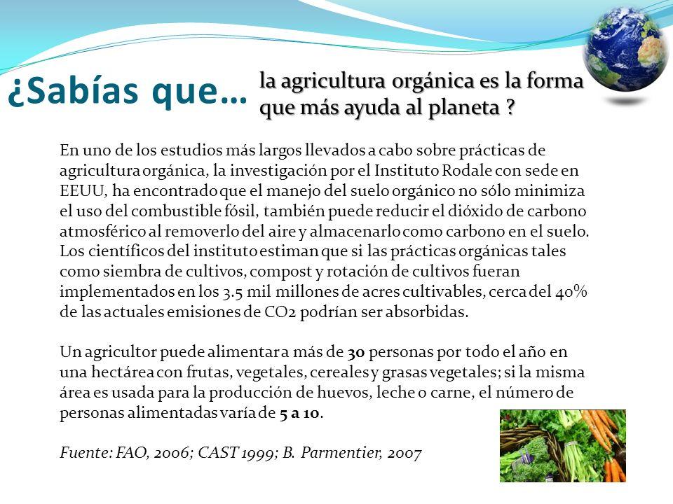 la agricultura orgánica es la forma que más ayuda al planeta ? En uno de los estudios más largos llevados a cabo sobre prácticas de agricultura orgáni