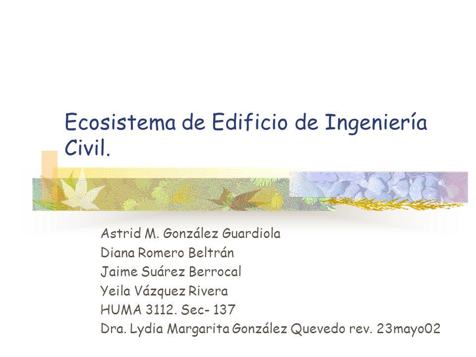 Ecosistema de Edificio de Ingeniería Civil. Astrid M. González Guardiola Diana Romero Beltrán Jaime Suárez Berrocal Yeila Vázquez Rivera HUMA 3112. Se