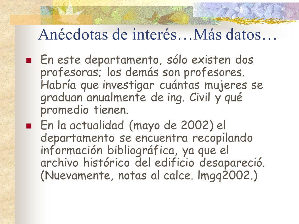 Anécdotas de interés…Más datos… En este departamento, sólo existen dos profesoras; los demás son profesores. Habría que investigar cuántas mujeres se