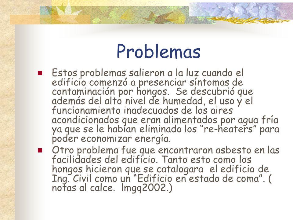 Problemas Estos problemas salieron a la luz cuando el edificio comenzó a presenciar síntomas de contaminación por hongos. Se descubrió que además del