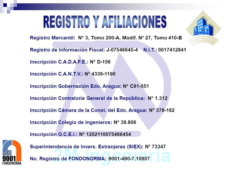 Registro Mercantil: N° 3, Tomo 200-A, Modif. N° 27, Tomo 410-B Registro de Información Fiscal: J-07546645-4 N.I.T.: 0017412841 Inscripción C.A.D.A.F.E