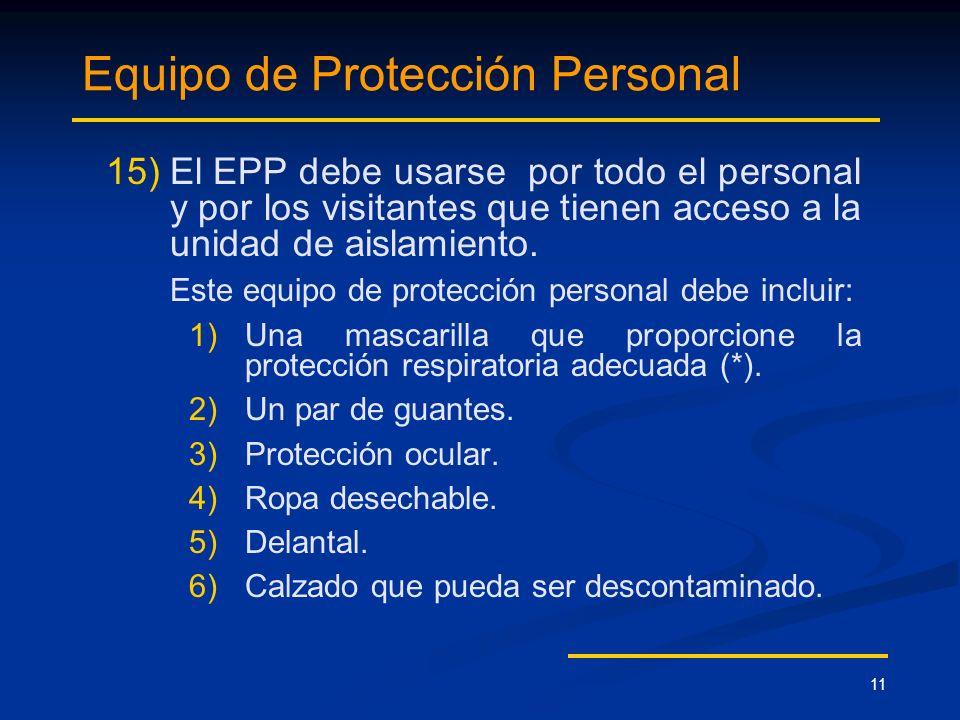 11 Equipo de Protección Personal 15) 15)El EPP debe usarse por todo el personal y por los visitantes que tienen acceso a la unidad de aislamiento. Est