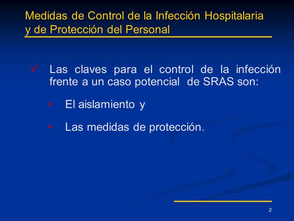 2 Medidas de Control de la Infección Hospitalaria y de Protección del Personal Las claves para el control de la infección frente a un caso potencial d