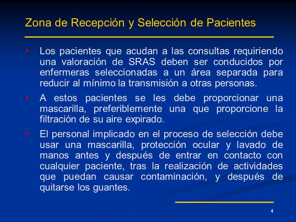 4 Zona de Recepción y Selección de Pacientes Los pacientes que acudan a las consultas requiriendo una valoración de SRAS deben ser conducidos por enfe
