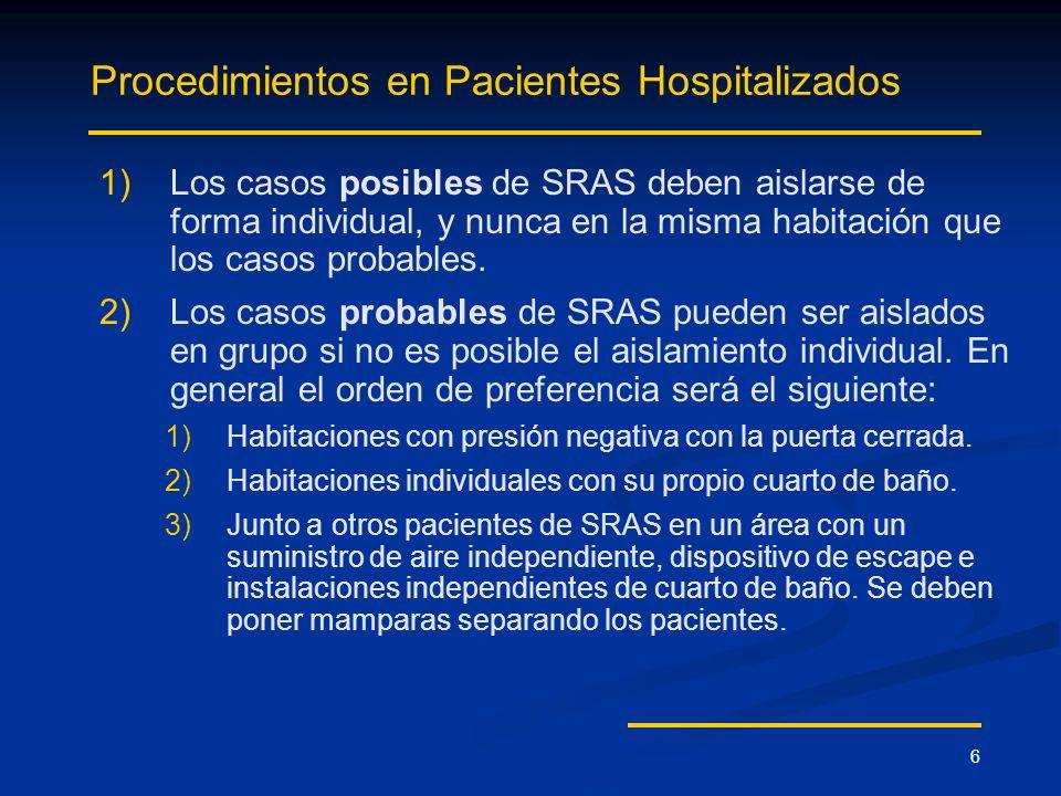 6 Procedimientos en Pacientes Hospitalizados 1) 1)Los casos posibles de SRAS deben aislarse de forma individual, y nunca en la misma habitación que lo