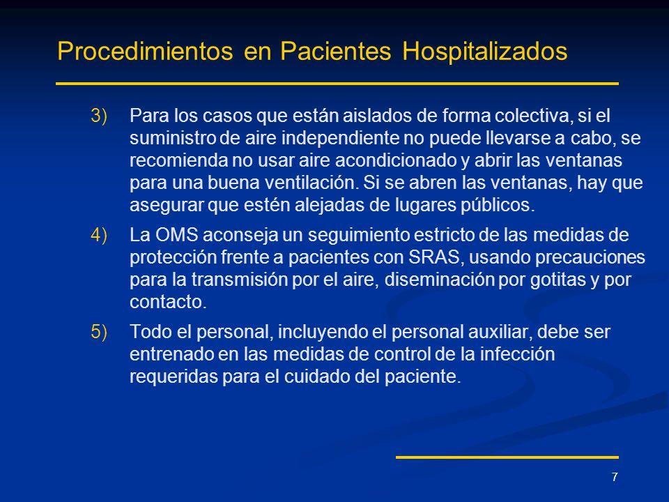 7 Procedimientos en Pacientes Hospitalizados 3) 3)Para los casos que están aislados de forma colectiva, si el suministro de aire independiente no pued