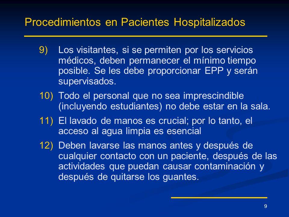 9 Procedimientos en Pacientes Hospitalizados 9) 9)Los visitantes, si se permiten por los servicios médicos, deben permanecer el mínimo tiempo posible.