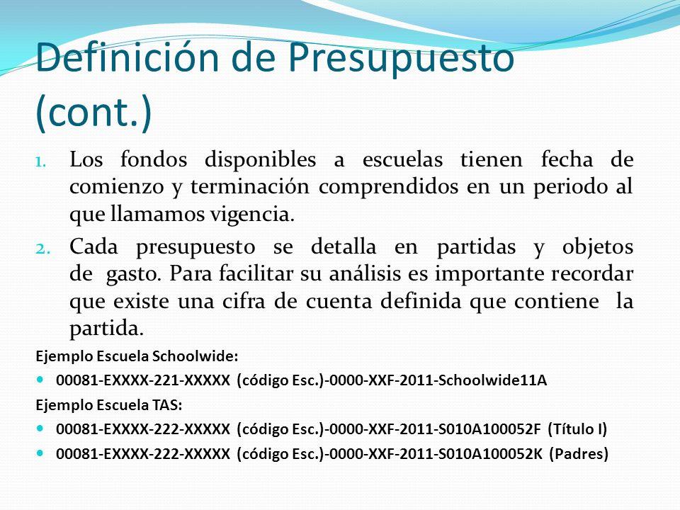 Definición de Presupuesto (cont.) 1.