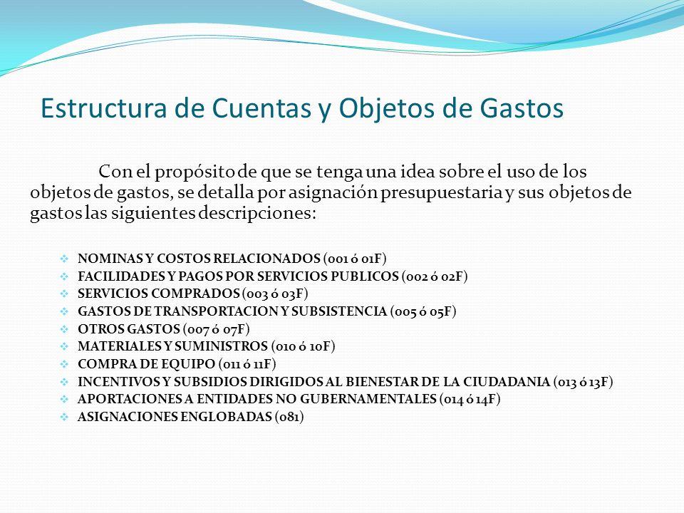Estructura de Cuentas y Objetos de Gastos Con el propósito de que se tenga una idea sobre el uso de los objetos de gastos, se detalla por asignación presupuestaria y sus objetos de gastos las siguientes descripciones: NOMINAS Y COSTOS RELACIONADOS (001 ó 01F) FACILIDADES Y PAGOS POR SERVICIOS PUBLICOS (002 ó 02F) SERVICIOS COMPRADOS (003 ó 03F) GASTOS DE TRANSPORTACION Y SUBSISTENCIA (005 ó 05F) OTROS GASTOS (007 ó 07F) MATERIALES Y SUMINISTROS (010 ó 10F) COMPRA DE EQUIPO (011 ó 11F) INCENTIVOS Y SUBSIDIOS DIRIGIDOS AL BIENESTAR DE LA CIUDADANIA (013 ó 13F) APORTACIONES A ENTIDADES NO GUBERNAMENTALES (014 ó 14F) ASIGNACIONES ENGLOBADAS (081)