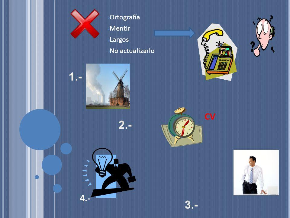 1.- 2.- 3.- 5.- Logros Ortografía Mentir Largos No actualizarlo CV 4.-