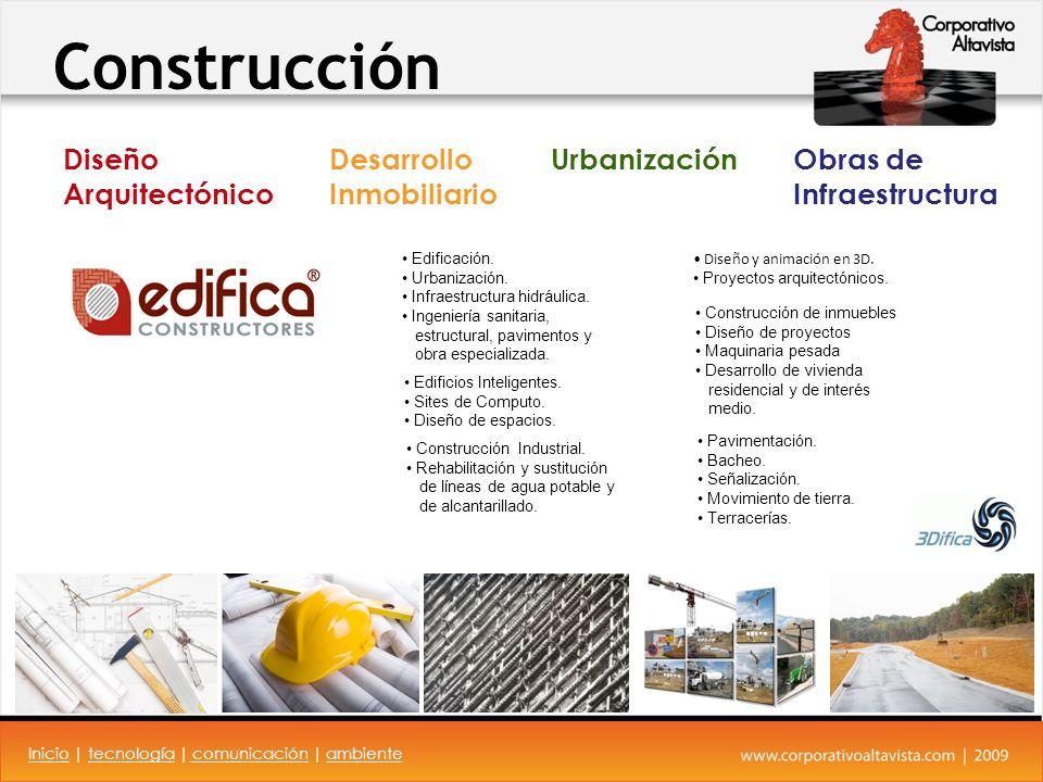 Construcción Construcción de inmuebles Diseño de proyectos Maquinaria pesada Desarrollo de vivienda residencial y de interés medio.