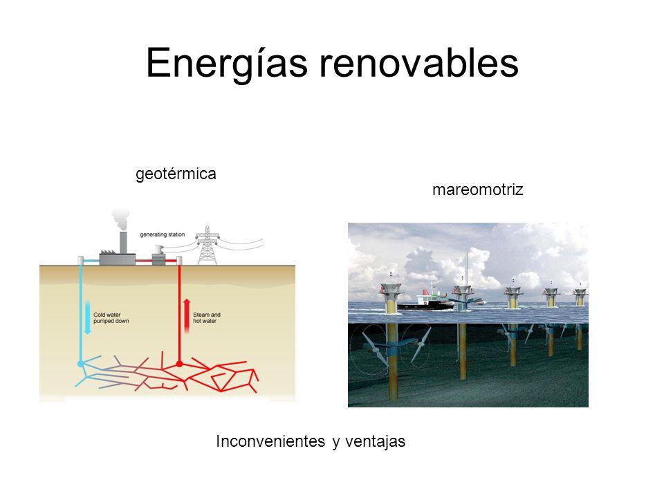 Energías renovables geotérmica mareomotriz Inconvenientes y ventajas