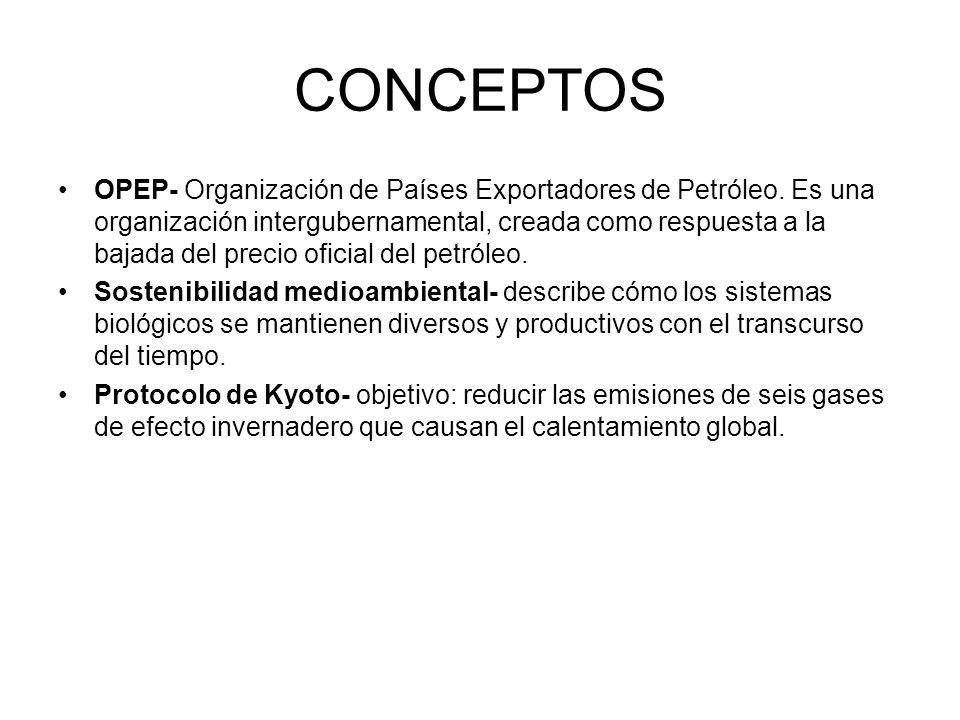 CONCEPTOS OPEP- Organización de Países Exportadores de Petróleo. Es una organización intergubernamental, creada como respuesta a la bajada del precio
