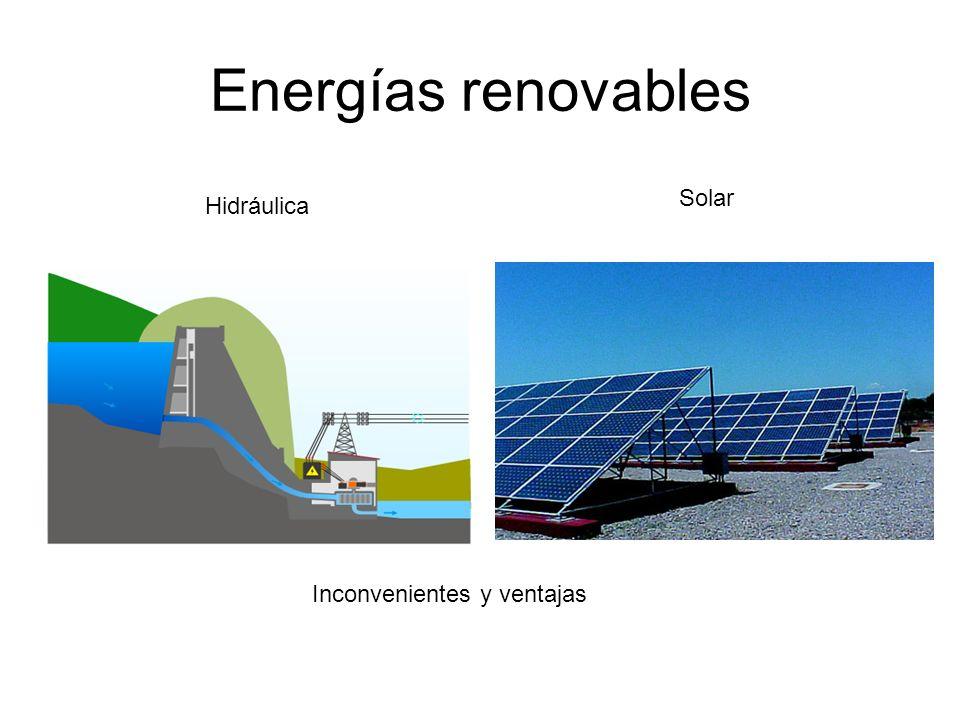 Energías renovables Hidráulica Solar Inconvenientes y ventajas