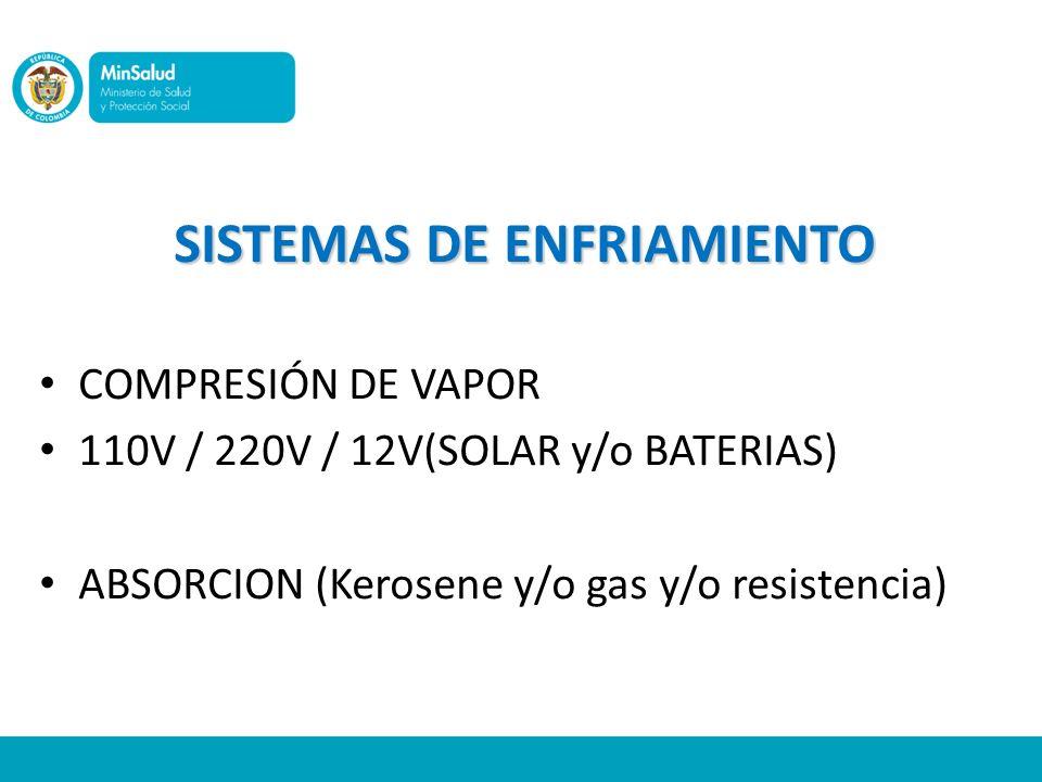 SISTEMAS DE ENFRIAMIENTO COMPRESIÓN DE VAPOR 110V / 220V / 12V(SOLAR y/o BATERIAS) ABSORCION (Kerosene y/o gas y/o resistencia)