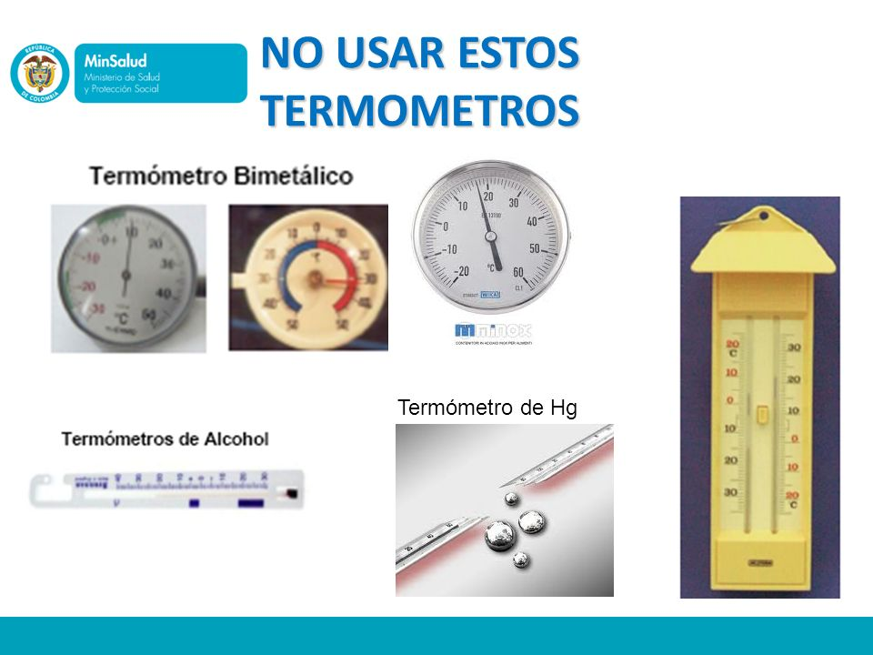 NO USAR ESTOS TERMOMETROS Termómetro de Hg