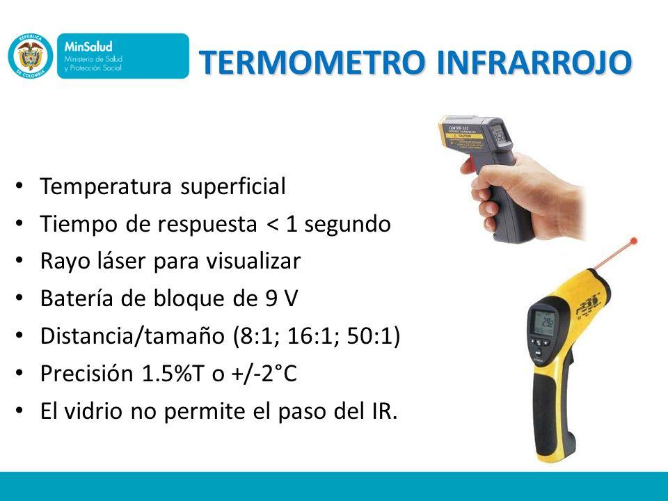 TERMOMETRO INFRARROJO Temperatura superficial Tiempo de respuesta < 1 segundo Rayo láser para visualizar Batería de bloque de 9 V Distancia/tamaño (8: