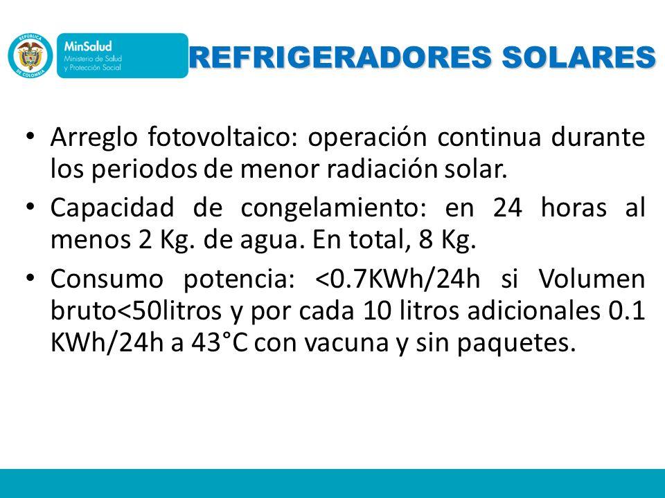 REFRIGERADORES SOLARES Arreglo fotovoltaico: operación continua durante los periodos de menor radiación solar. Capacidad de congelamiento: en 24 horas