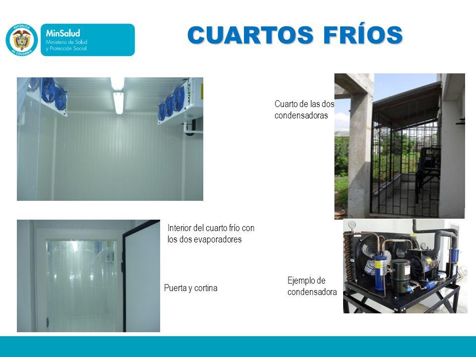CUARTOS FRÍOS Interior del cuarto frío con los dos evaporadores Puerta y cortina Cuarto de las dos condensadoras Ejemplo de condensadora