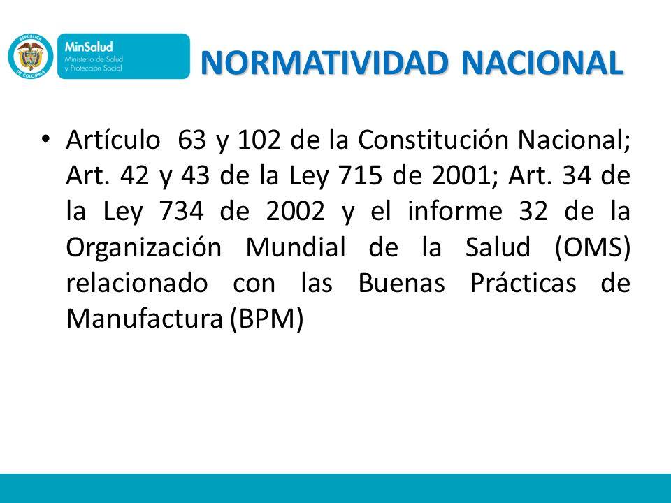 NORMATIVIDAD NACIONAL Artículo 63 y 102 de la Constitución Nacional; Art. 42 y 43 de la Ley 715 de 2001; Art. 34 de la Ley 734 de 2002 y el informe 32