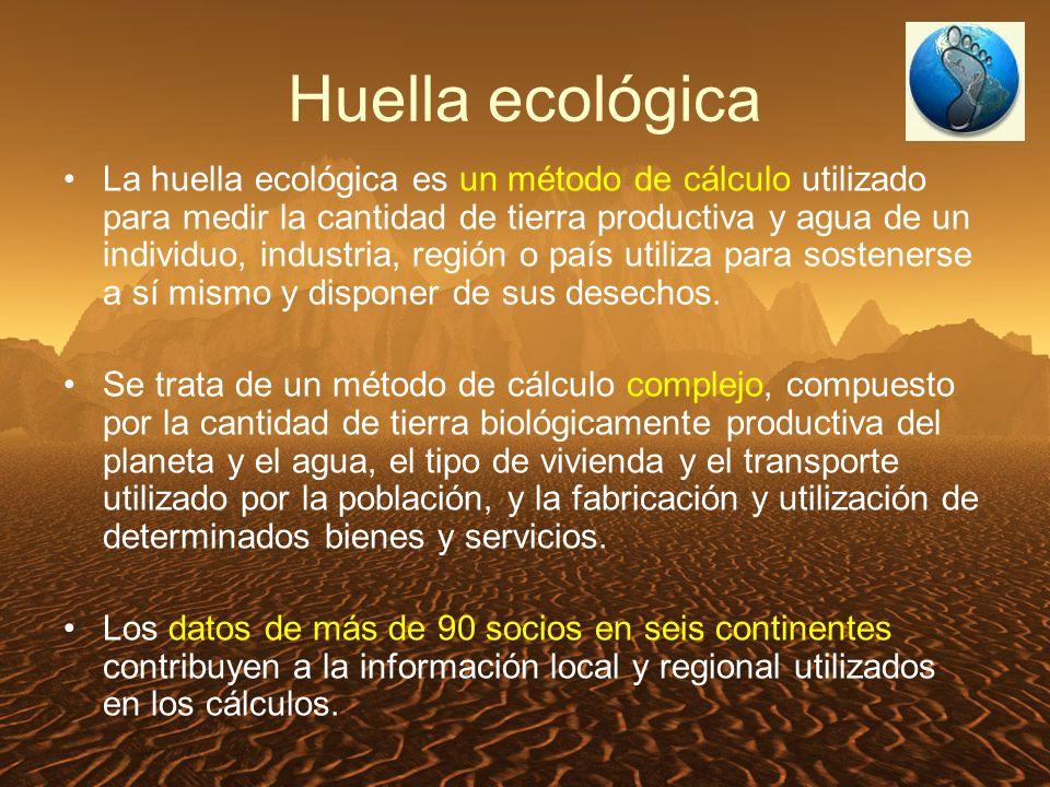La huella ecológica es un método de cálculo utilizado para medir la cantidad de tierra productiva y agua de un individuo, industria, región o país utiliza para sostenerse a sí mismo y disponer de sus desechos.