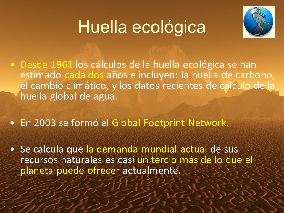 Huella ecológica Desde 1961 los cálculos de la huella ecológica se han estimado cada dos años e incluyen: la huella de carbono, el cambio climático, y los datos recientes de cálculo de la huella global de agua.