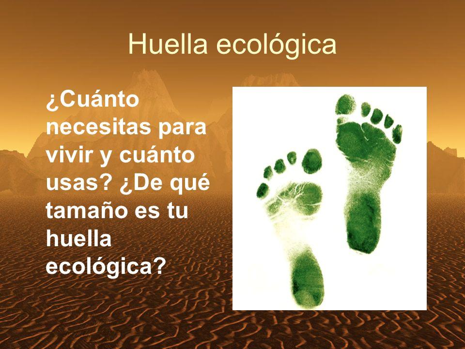 Huella ecológica ¿Cuánto necesitas para vivir y cuánto usas ¿De qué tamaño es tu huella ecológica